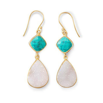 14K Gold Plated Earrings w/ Stabilized Turquoise and Druzy