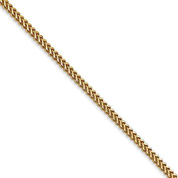 1.5mm, 14k Yellow Gold, Solid Franco Chain Necklace