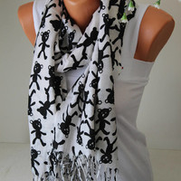 Bear Printed Scarf-Animal Scarf-Soft Pashmina-Women accessories-Gift for her -White Pashmina-Pashmina-Printed Pahmina-Animal Scarves-