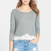 Junior Women's Paper Crane Crochet Trim Long Sleeve Tee