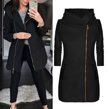 NIBESSER 2018 Fashion Women Autumn Winter Coats Warm Slant Zipper Jacket Collared Coat Casual Clothing Overcoat Tops Female Coat