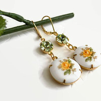 Yellow Rose Earrings Gold Filled Porcelain Earrings Gift for Best Friend Summer Earrings Mother's Day Gift Wrap