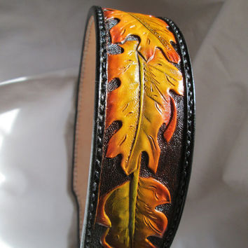 Fall colors collar , leather dog collar , Large dogs , X- Large collars , Hand tooled custom pet collars