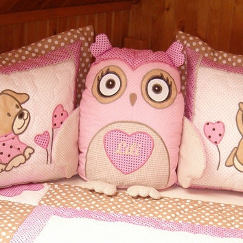 Owl Pillow, Stuffed Owl, Kids Home Decor,  Giftguide, Pink Beige
