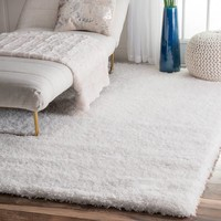 Google Express - Silver Orchid Rita Solid White Shag Area Rug - 4' x 6'