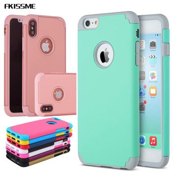 FKISSME Shockproof Hybrid PC Hard Case For iPhone 7 8 Plus X 5S Armor Soft Silicone Back Cover For iPhone 6 6S Plus Phone Cases