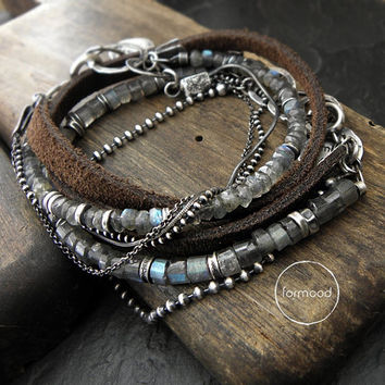 Two Bracelets - set 20% off - sterling silver labradorite and leather
