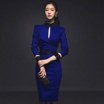 2018 Autumn Women Dress Office Hollow Out Sexy Party Long Sleeve Dresses Bodycon Bandage Ladies Work Slim Socialite Midi Dress