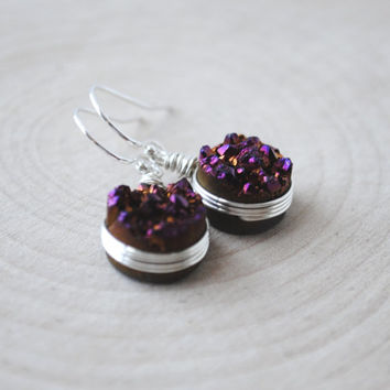 Agate Druzy Earrings, Drusy Earrings, Dark Purple Druzy Earrings