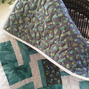 "Teal/Grey/White Baby Blanket -  33"" x 45"" - Girl - Tiny Flowers - SPECIAL"