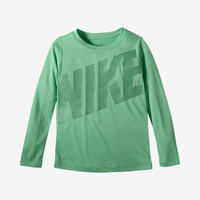The Nike Dri-FIT Tech Heather Toddler Girls' Shirt.