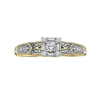 Cherish Always Round-Cut Diamond Frame Engagement Ring in 10k Gold (1/4 ct. T.W.) (White)