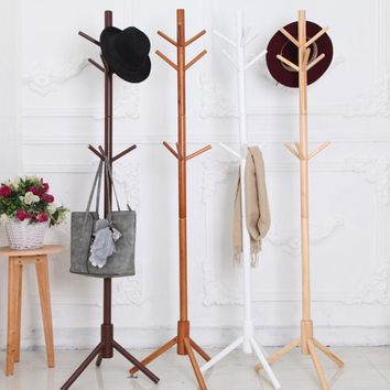 Solid Wood Hanger Floor Standing Coat Rack Creative Home Furniture Clothes Hanging Storage Rack Wood Hanger Bedroom Drying Rack
