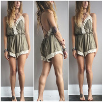 A Dainty Crochet Romper- Olive