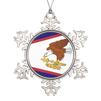 Snowflake Ornament with American Samoa Flag