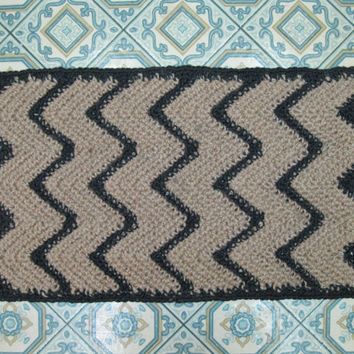 Black Chevron Rug - Crochet Jute Rug - Hall Runner - Southwestern Decor - Handmade Rug - Zig Zag Rug - Chevron Throw Rug - Kitchen Mat