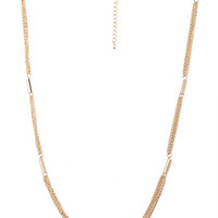 FOREVER 21 Long Chain & Bar Necklace Gold One