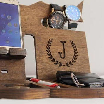 Nightstand Anniversary gift Desk organizer ideas mens Docking Station Nigthtstand Personalized docking wood Docking station Charging dock
