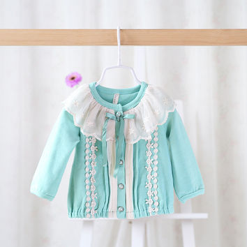 Spring autumn blue new style baby girls shirts little girls fashion blouses girls long sleeve shirts