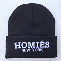 HOMIES NEW YORK Beanie Warm Winter Unisex Fashion Embroidered Knitted Womens & Mens Black Cuffed Skully Hat