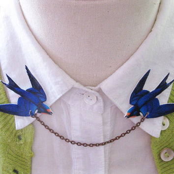 Pretty Bird Brooch Blue Swallow Double Collar Pin for Spring and Summer