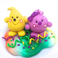 HAPPY NEW YEAR Celebration Parker & Lolly - Polymer Clay StoryBook Scene Sculpted Figurine