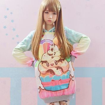 12 styles Soft Sister Sweatshirt Pretty Lolita Sweet Hoodies Harajuku Bunny Printed Pullover Women Winter Thick Fleece Pullovers