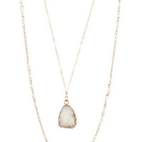 Dainty Druzy Pendant Beaded Double Strand Necklace