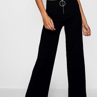 O Ring Wide Leg Trouser | Boohoo