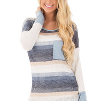 Slate Blue Striped Tunic Top with Faux Suede Detail