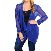 Plus Size Asymmetric Hem Sheer Chiffon Cardigan in Blue