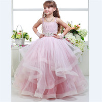 Holy Flower Girls Dresses Pink Color Ball Gown with Straps Ruffles Sleeveless Beaded Wedding Girl Wear Bow Vestidos de comunion