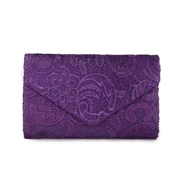 2017 Elegant Designer Envelope Women Clutches Flap Pochette Soiree Lace Crochet Handbags Fashion Evening Bags Party Wallets L887