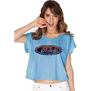 Ladies Ford Oval T-shirt Distressed Logo Boxy Tee