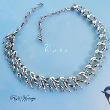 Gorgeous Coro Silver Tone Collar Choker Necklace, Unique Designer 1950's Necklace