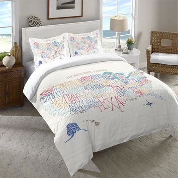 Hand Lettered US Map Color Duvet Cover