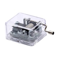 Laxury Plastic Hand Crank Music Box SY003 (18 Note Movement in Sliver,set of 1) (Clear, Tune:The Wind Forest from Totoro)