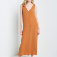 Button Down Crepe Long Duster