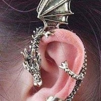 niceeshop(TM) New Dragons Lure Cuff Pewter Earring Party Left Ear ,Retro Silver+Accessory Cable Tie