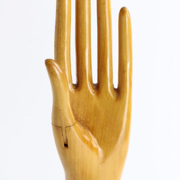 Rare Antique Wooden Mannequin Hand - Glove Display - Store Display or Fitting - Jewelry Display