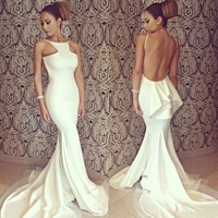 Women's Bridesmaid White Sexy Full Length Backless Off-shoulder Fishtail Mermaid Formal Evening Dresses Party Gown Wedding Long Maxi Dress D_L
