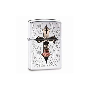 Zippo Skull Cross High Polish Chrome Lighter