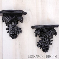 Black Small Wall Shelf Wall Sconces - Pair of 2 Shabby Chic Ornate Design Upcycled Modern Traditional Home Decor