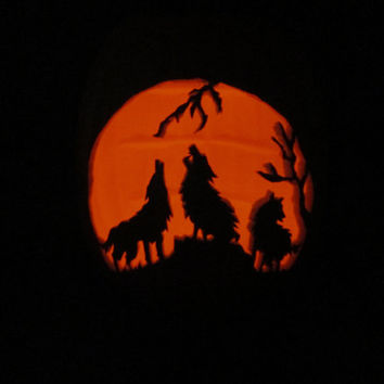 "Carved Pumpkin Wolf 13"" Jack O Lantern Light LG Hand Carved Wolves Halloween Decoration Accent w Orange Flicker Tea Light Home Office Decor"