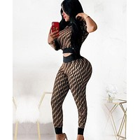 Fendi Fashion New Summer Multicolor More Letter Print Sports Leisure Top And Pants Two Piece Suit Coffee
