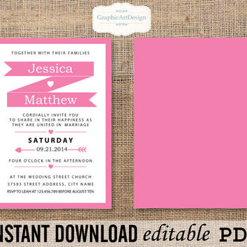 Banner Wedding Invitation Printable Editable Text PDF (Fonts, Colors, Size) Text That You Personalize with Adobe Reader - Instant Download