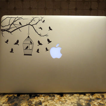 Birds Birdcage Bird Cage Tree branch Decal Custom Vinyl Computer Laptop Car auto vehicle window decal custom sticker Decal
