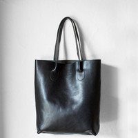 Leather Tote Bag in Black / Leather Tote Bag  / Black Tote Bag  / Leather Handbag / Women's Handbag / Black Tote / Black Leather Shopper