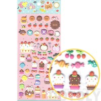 Super Cute Cupcakes Cakes Desserts and Pigs Shaped Puffy Stickers for Scrapbooking