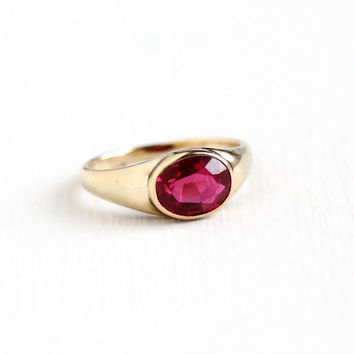 Vintage 10k & 14k Yellow Gold Created Ruby Ring - Size 7 1/4 Art Deco 1 + Carat Oval Synthetic Red Pink Stone July Birthstone Fine Jewelry